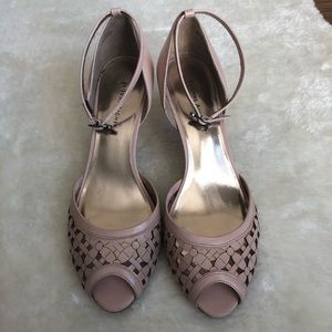 Etienne Aigner Ciara leather ankle strap peep toe
